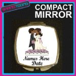 PERSONALISED WEDDING GIFT COMPACT LADIES METAL HANDBAG MIRROR - 160903722539